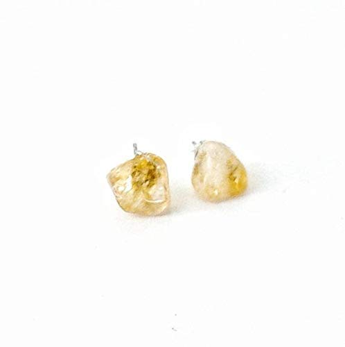 Natural Golden Citrine Stone Earrings - White Gold Crystal Studs for Men and Women - 2019 Spring and Summer Fashion