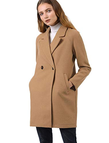 (Allegra K Women's Notched Lapel Double Breasted Raglan Winter Coats Khaki XL (US 18))