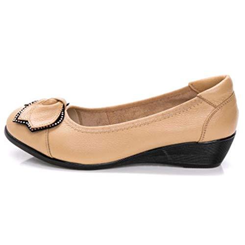 48f446acf7097 Chaussures Cales Jrenok Haut De Fashion Abricot On Cuir Casual Pompes En  Femmes Slip Talons hdoQBtsCxr