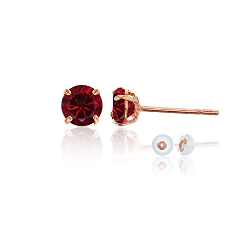 14K Rose Gold 4mm Round Ruby Stud Earring