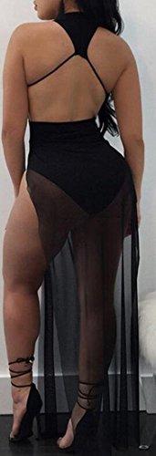 Jaycargogo Sexy Manches Haute Fente Maille Robe D'été Noire Pure Des Femmes