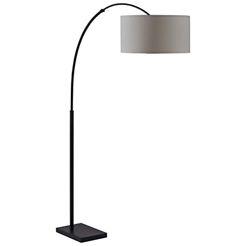 Stone & Beam Modern Arc Living Room Floor Lamp With Light Bulb And White Shade - 76 Inches, Black