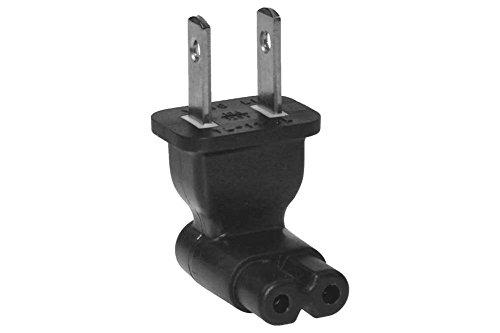 (TENINYU 2 Prong Right Angle Plug Adapter,AC power Plug Adapter USA IEC 60320-C7 receptacle to NEMA 1-15P )