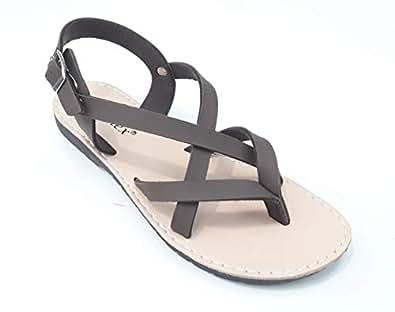 LEMEX Brown Flat Sandal For Womens