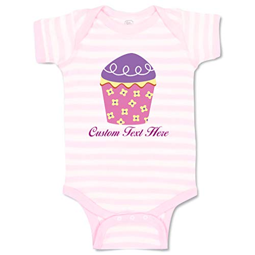 (Custom Personalized Boy & Girl Baby Bodysuit Cupcake Pink with Flowers Funny Cotton Baby Clothes Stripes Soft Pink White Personalized Text Here Newborn)