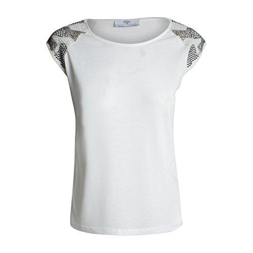 Le Temps des Cerises Damen T-Shirt Tsh F Brook von Farbe Weiß Beige Modisches Top