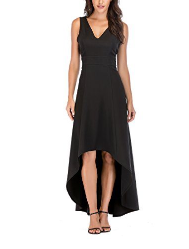 SUNNOW Women's Solid Color Sexy V Neck Sleeveless V Back High-Low Maxi Long Beach Party Dress (XL(US16-18), Black)