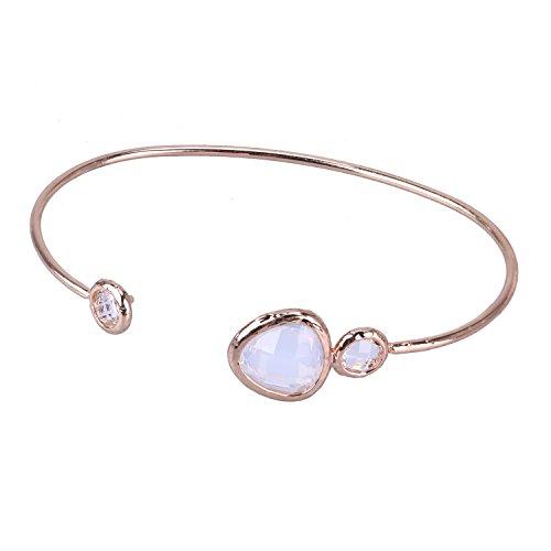KELITCH Crystal Bracelet Silver Bangles