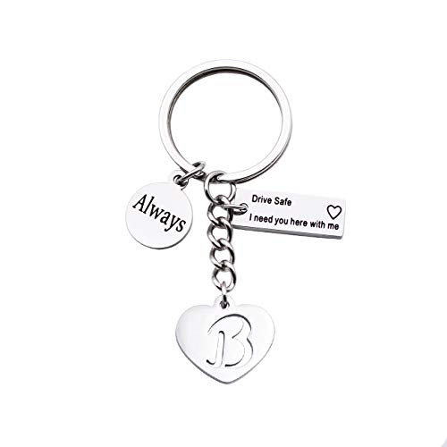 BRBAM Reminder from Lovers - Always Drive Safe I Need You Here with Me Engraved Initial Keychain (B)