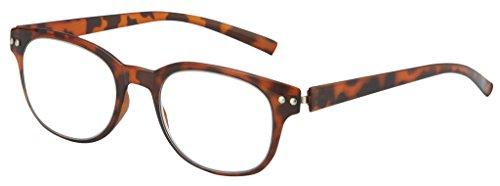 Optical Reading Glasses Ultra FLEXIBLE BENDZ Rounded Design Women Men Unisex Eyeglasses + Soft Pouch +1.25 Brown - Eyeglasses Rounded