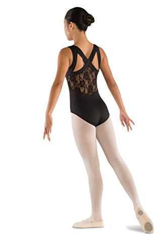 Cross Leotard Front - DanzNmotion by Danshuz Girl's Strap Leotard 8-10 Black