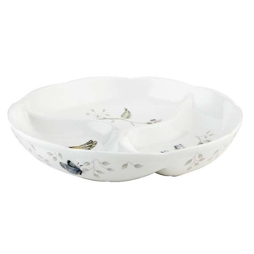 Lenox Butterfly Meadow 9-Inch Round Divided Dish (Contemporary Ceramic Floral)