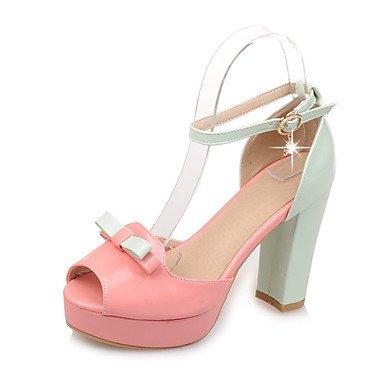 Pink Cn34 Grundlæggende Bryllup Sandaler Uk3 S Pumpe Chunky Kjole Pinkus5 Greenblushing Sommer Kvinder Krystal Laklæder 039 Heelblushing Ue35 Spænde XWqA1xvUwn