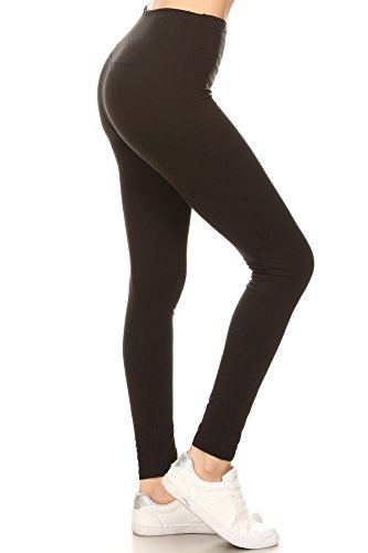 "LY5R128-BLACK2 5"" Waistband Yoga Solid Leggings, One Size"