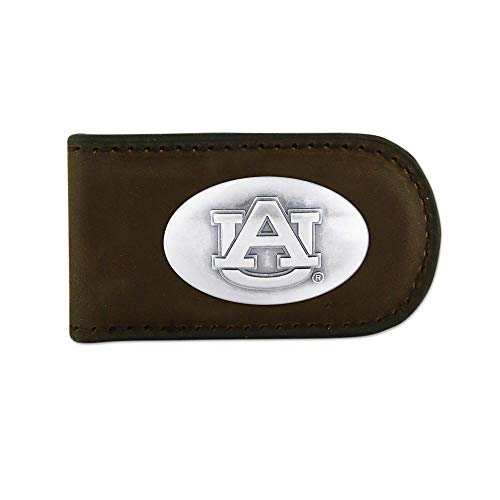 (NCAA Auburn Tigers Brown Leather Magnet Concho Money Clip, One)