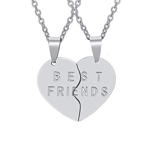 SnugBuy Best Friends Necklace - Stainless Steel BBF Pendant&Chain for Girls and Boys Friendships Gift - Set of 2 (Silver)