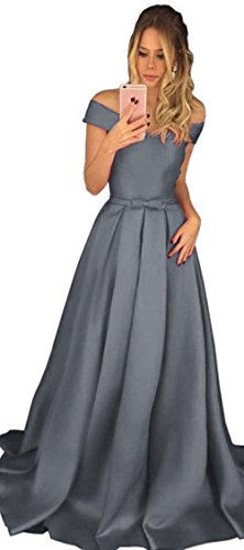 Long Satin A Off Grey Shoulder Gowns Dress Line Dressylady Prom Evening Formal Bridesmaid dqwHptd