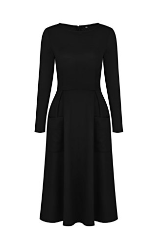 GAMISS Mujer Vintage Vestido Mangas Largas Casual con Bolsillo Invierno Dress S-XL Negro