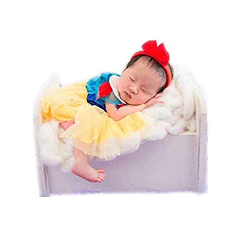 (Dvotinst Newborn Baby Photography Props Fotografia Princess Dress+Headband 2pcs Set Cosplay Costume Studio Shoot Photo Props)