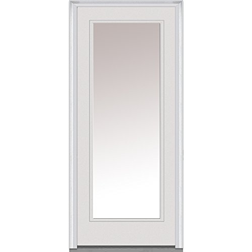 National Door Company ZZ00512R Fiberglass Smooth Primed, Right Hand In-swing, Prehung Front Door, Full Lite, Clear Glass, 30