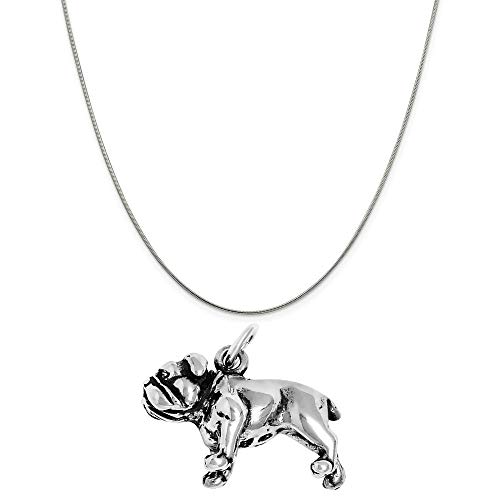 (Raposa Elegance Sterling Silver 3D Bulldog Charm on a Sterling Silver 16