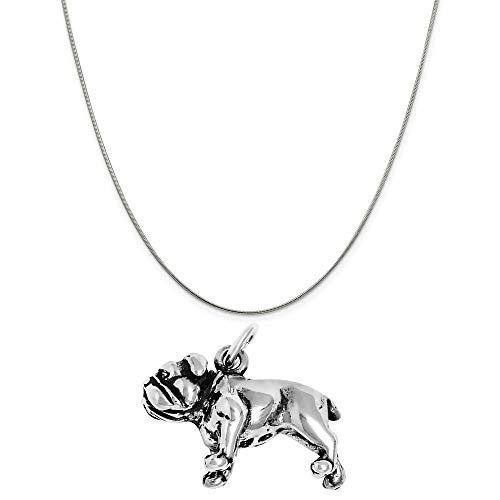 Raposa Elegance Sterling Silver 3D Bulldog Charm on a Sterling Silver 16