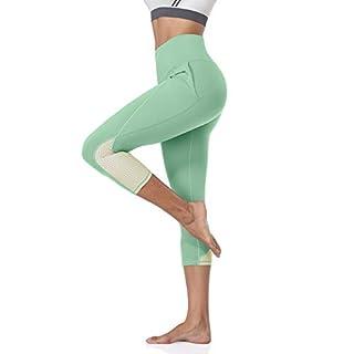 ATTRACO Capri Leggings Women's Cropped Workout Spandex Leggings with Pockets Buttery Soft Yoga Pants Pale Aqua