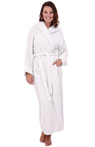 Alexander Del Rossa Womens Turkish Terry Cloth Robe, Long Cotton Hooded Bathrobe, Large XL White (A0127WWHXL) - Long Terry Cotton Robe