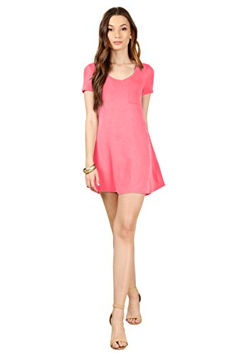 Simlu Coral Pink V Neck Tunic T Shirt Dress With Front Pocket A Line Jersey Casual Mini Dress Coral XXX-Large
