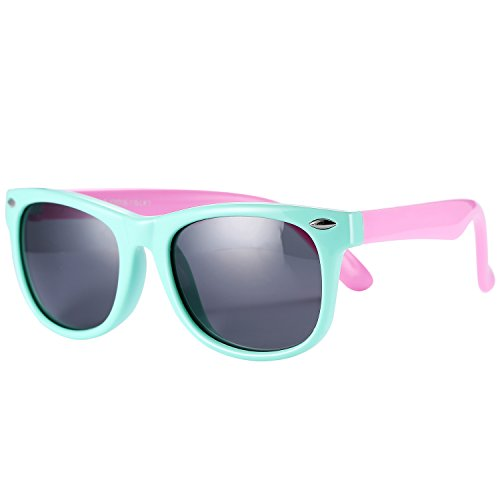 Pro Acme TPEE Rubber Flexible Kids Polarized Wayfarer Sunglasses for Baby and Children Age 3 -10 (Mint - Mint Sunglasses Wayfarer