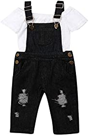 Toddler Baby Girls Denim Overalls Off Shoulder Lace Tops Denim Bib Overalls Ripped Jeans Pant Clothes Set