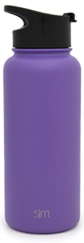 Simple Modern 32oz Summit Water Bottle + Extra Lid - Vacuum Insulated Stainless Steel Wide Mouth Liter Hydro Travel Mug - Powder Coated Metal Flask - Lilac Purple