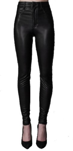 High waisted leather skinny jeans
