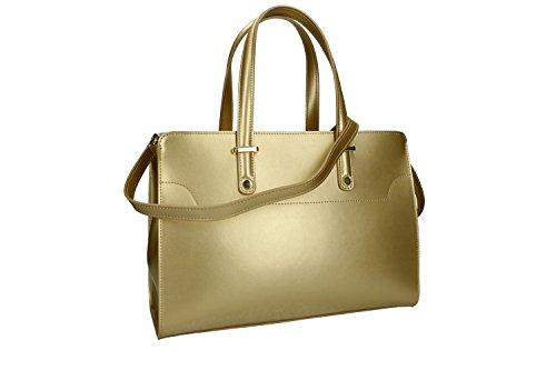Borsa donna a mano con tracolla PIERRE CARDIN oro pelle Made in Italy VN1464