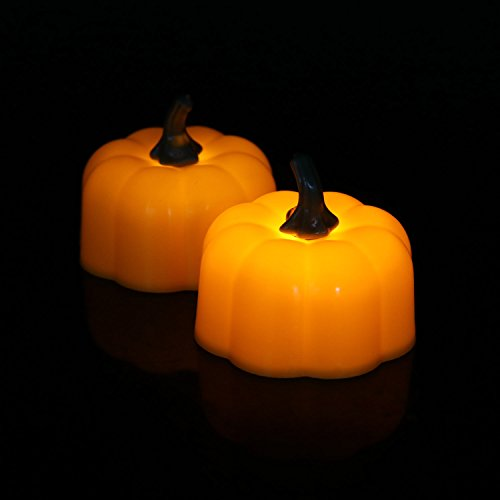 Micchow Halloween Pumpkin Light Yellow Flickering Led 12 Pcs Tea Light Flameless Candle, Battery-Operated Electronic Candles Special for Halloween Party Decorations Home Décor Christmas Decoration -
