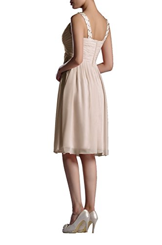 Natrual a Chiffon Dress Champagne Neck Straps V Sleeveless Line Adorona Women's Graduation 1ZfwqE