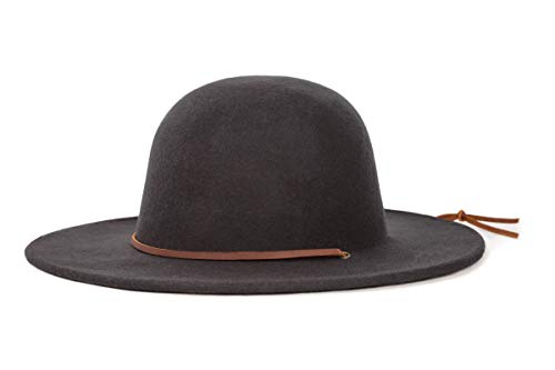 Brixton Men's Tiller Wide Brim Felt Fedora Hat, Black, Medium -