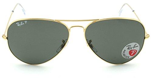 Sunglasses Green Rb3025 Unisex 58 Polarized Aviator 001 crystal Metal Gold Ray Lens ban Large Frame f5P0xXwqHn