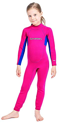 Lemorecn Wetsuits Youth 2 mm Full Diving Suit(4032pinkblue-8) (Pants Girls Ski Patterned)