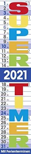 Korsch Supertimer Streifenkalender mit Datumsschieber, Ferienterminen 2021