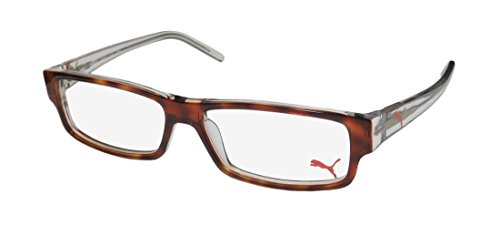 Puma 15348 For Men Spring Hinges Plastic Arms Authentic Optical Hot Optimal TIGHT-FIT Designed For Active Lifestyles Eyeglasses/Eye Glasses (52-14-135, Havana/Clear) from PUMA