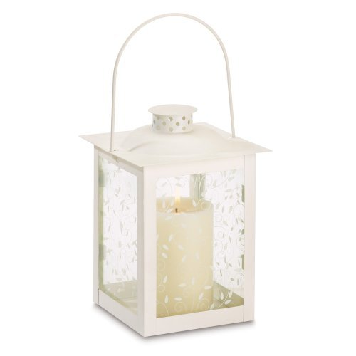 10 Wholesale Large Ivory Color Glass Lantern Wedding Centerpieces - Ivory Centerpiece