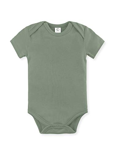 Green Baby Organic Cotton - Colored Organics Unisex Baby Organic Cotton Bodysuit - Short Sleeve Infant Onesie - Thyme Green - 3-6M