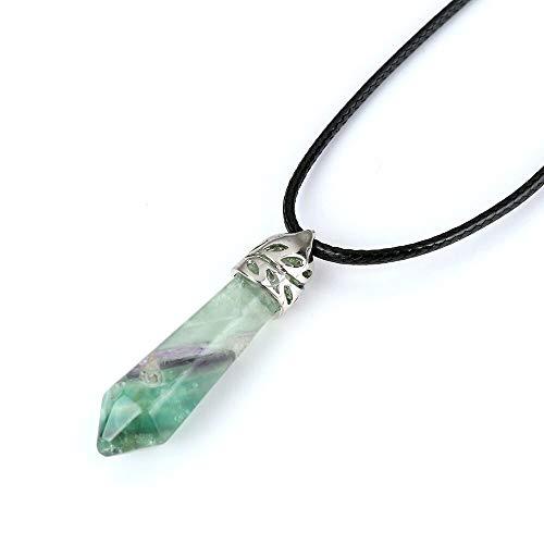 Vintage Natural Stone Pendants Necklace | Crystal Quartz Gem Stone Leather Cord Statement Pendants Necklace | for Women