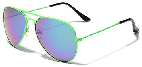 Neon Frame Original Aviator Style Sunglasses GREEN]()