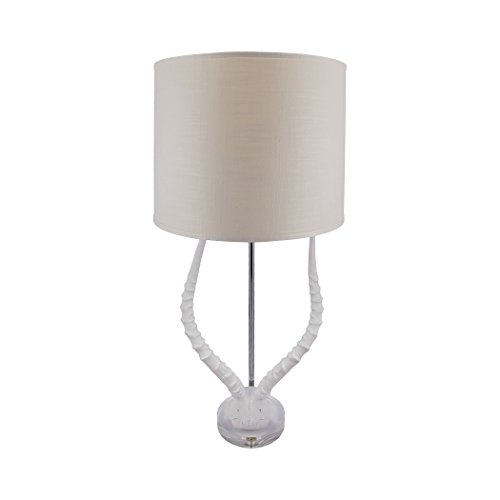Manhattan Collection Faux Horn Table Lamp In White With White - Italian Lamp Horn