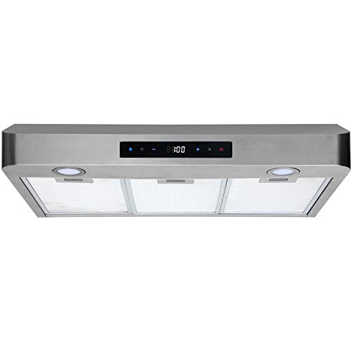 Range Hood 30 Inch Under Cabinet Stainless Steel Kitchen Fan, 3 Speeds Touch Control 350 CFM Stove Exhaust Vent WL-0071030