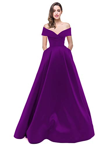 A Line Long Plus Size Evening Dresses 2018 Womens Off Shoulder Full Length  Elegant Satin Prom Dress Formal Ball Gown with Pockets Plus Size Prom ...
