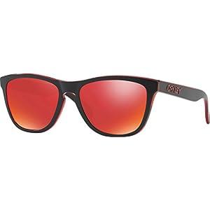 Oakley Men's Frogskins Non-Polarized Iridium Square Sunglasses, Eclipse Red, 55 mm