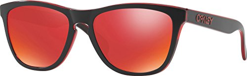 Oakley Men's Frogskins Non-Polarized Iridium Square Sunglasses, Eclipse Red, 55 - Sunglasses Men Oakley